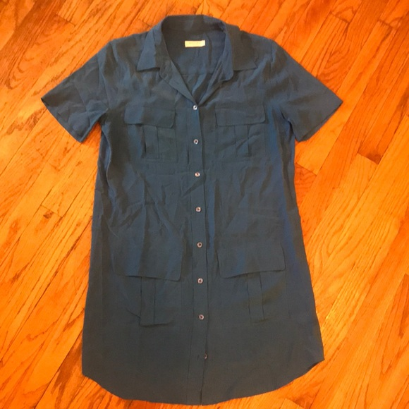 Equipment Dresses & Skirts - Equipment 100% Silk Blue Shirtdress